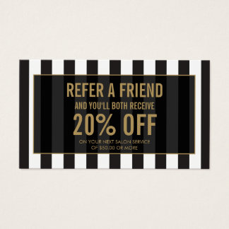 Black and White Stripes Salon Referral Card