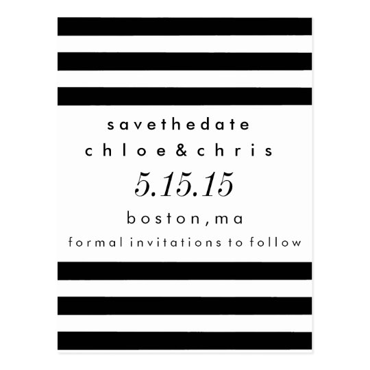 Black and White Stripes Save the Date Postcard