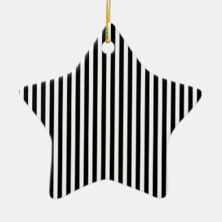 Black and White Stripes; Striped Double-Sided Star Ceramic Christmas Ornament