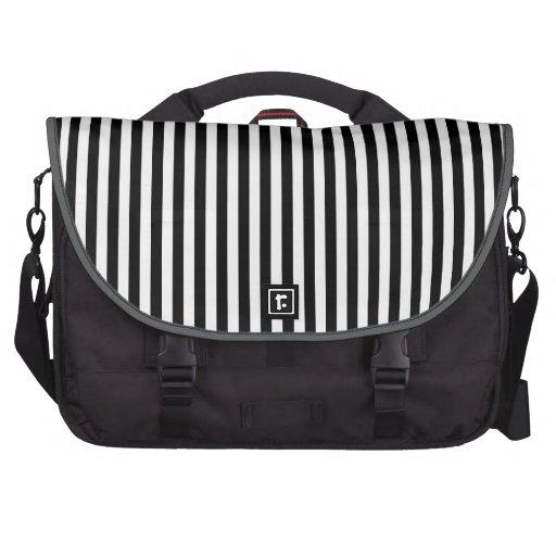 Black and White Stripes; Striped Laptop Bag