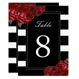 Black and White Stripes Table Numbers 11 Cm X 16 Cm Invitation Card