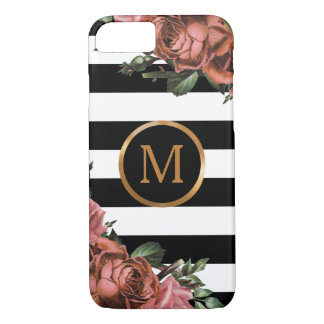 Black and White Stripes, Vintage Floral Monogram iPhone 8/7 Case