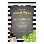 Black and White Stripes Wine Grapes Bridal Shower 13 Cm X 18 Cm Invitation Card