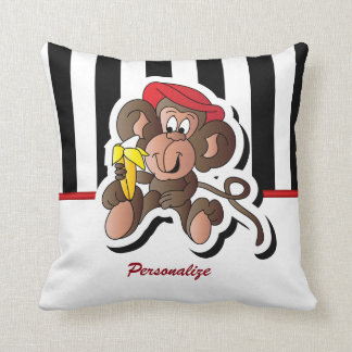 Black and White Stripes with a Monkey Cushion