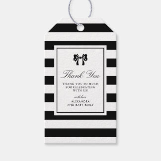 Black and White Stripes with Bow Baby Shower Gift Gift Tags
