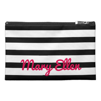 Black and White Stripes With Bright Pink Travel Accessory Bag