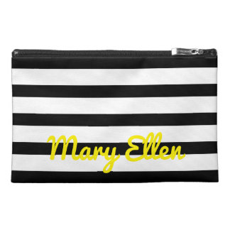 Black and White Stripes With Bright Yellow Travel Accessory Bag