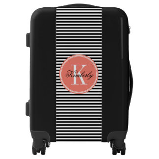 Black and White Stripes with Coral Monogram Luggage