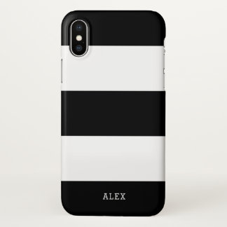 Black and White Stripes With Custom Name iPhone X Case