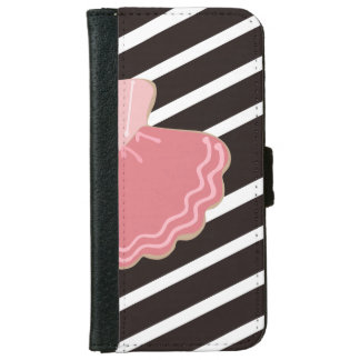 Black and White Stripes with Elegant Ballet Dress iPhone 6 Wallet Case