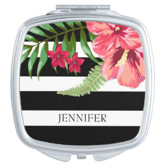 Black And White Stripes With Exotic Flowers Travel Mirror