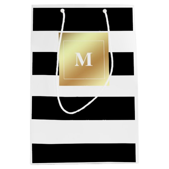 Black and White Stripes with Faux Gold Monogram