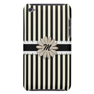 Black and White Stripes with Flowe Custom Monogram iPod Touch Cases