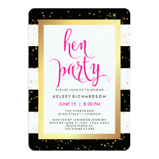 Black and White Stripes with Gold Hen Party Card