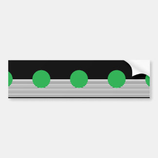 Black and White Stripes with Green Circle Car Bumper Sticker