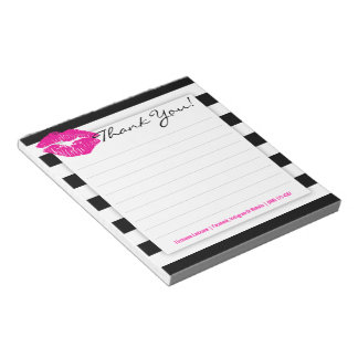 Black and White Stripes with Hot Pink Lips Notepad