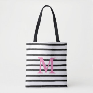 Black And White Stripes With Initial Tote Bag
