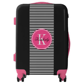 Black and White Stripes with Pink Monogram Luggage