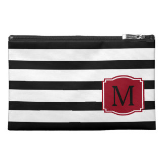 Black and White Stripes With Red Monogram Travel Accessory Bag