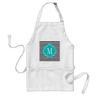 Black and White Stripes with Teal Monogram Adult Apron
