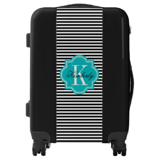Black and White Stripes with Teal Monogram Luggage