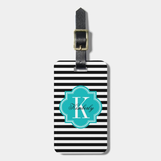 Black and White Stripes with Teal Monogram Luggage Tag
