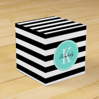 Black and White Stripes with Turquoise Monogram Favour Box