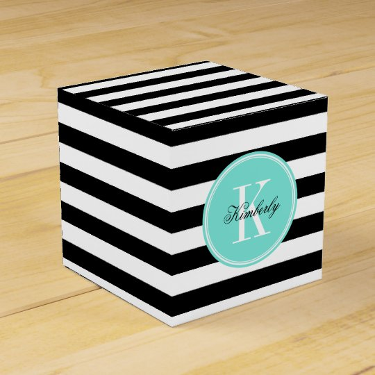 Black and White Stripes with Turquoise Monogram Favour