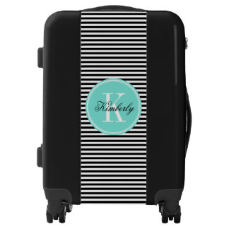 Black and White Stripes with Turquoise Monogram Luggage