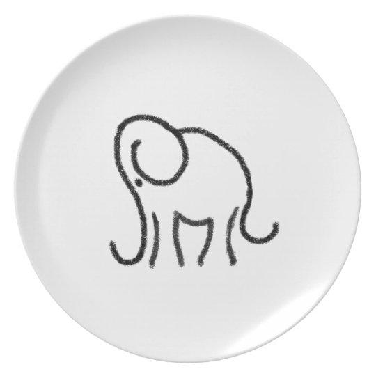 Black and white stylised elephant emblem plate
