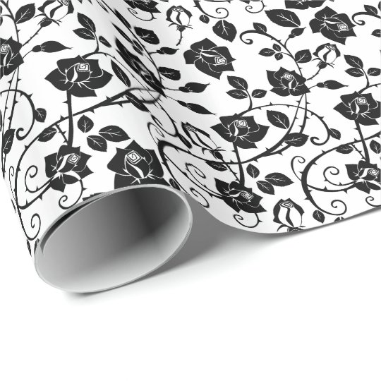Black And White Stylised Roses Pattern Wrapping Paper