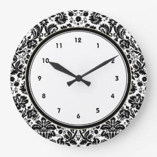 Black and white stylish damask pattern large clock