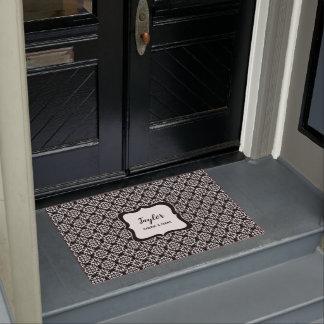 Black and White stylish damask personalised Doormat