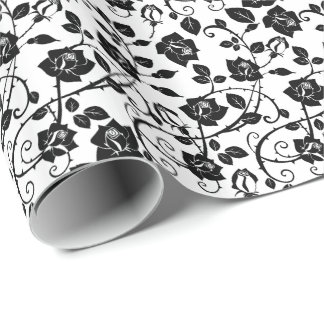 Black And White Stylized Roses Pattern Wrapping Paper