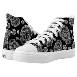 Black and White Sugar Skull High Tops Printed Shoes