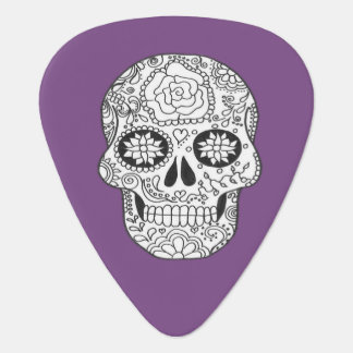 Black and white Sugar Skull purple guitar plectrum