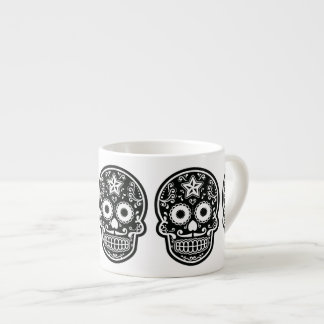 Black and White Sugar Skull Star Espresso Cup