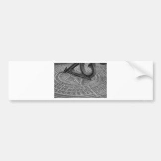 Black and white sun dial bumper sticker