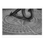 Black and white sun dial postcard