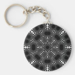 Black and White Sunflower2 Keychains