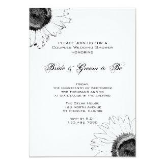 Black and White Sunflower Couples Wedding Shower 13 Cm X 18 Cm Invitation Card