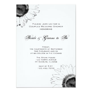 Black and White Sunflower Couples Wedding Shower Card