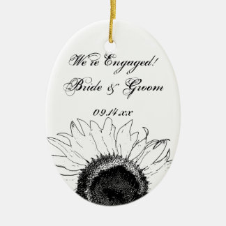Black and White Sunflower Engagement Photo Christmas Ornament