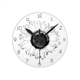 Black and White Sunflower Round Clock