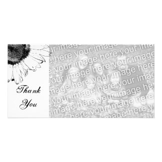 Black and White Sunflower Thank You Photo Card