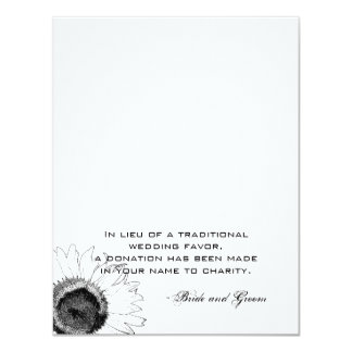 """Black and White Sunflower Wedding Charity Favor 4.25"""" X 5.5"""" Invitation Card"""