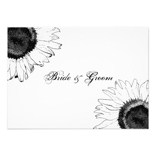 Black and White Sunflower Wedding Flat Note Cards Personalized Invitation