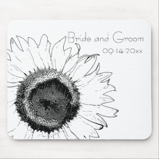 Black and White Sunflower Wedding Mouse Mat