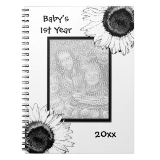 Black and White Sunflowers Baby's First Year Notebooks