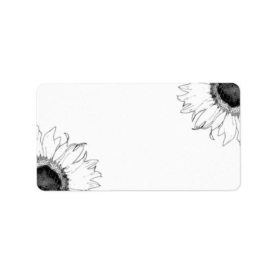 Black and White Sunflowers Label